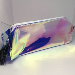 """Holographic Pencil Case 7""""x2""""x2"""" NWT"""